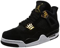jordan 4 retro. nike jordan mens air 4 retro black/metallic gold white basketball shoe 10.5 men m