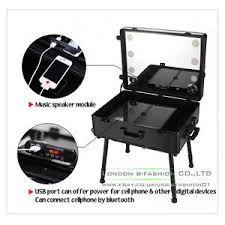 professional rolling studio makeup case with led light