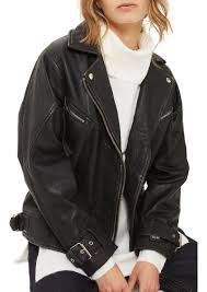 top teddy oversize leather biker jacket