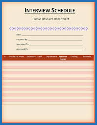 Schedule Document Template Interview Schedule Template Pleasant 5 Interview Schedule