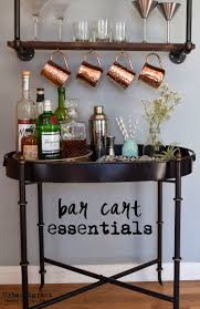 Urban Market bar cart and industrial accessories create a contemporary look  for home entertaining.