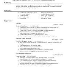 Sample Resume For Auto Technician Auto Mechanic Resume Templates ...