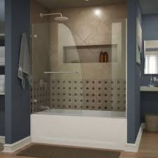 tub shower doors. Aqua Uno 60-inch X 58-inch Semi-Frameless Hinged Tub/Shower Tub Shower Doors