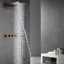 2019 oil rubbed bronze shower faucets set rainfall waterfall shower heads orb bathroom showers wall mounted rain hand hold shower from setsail411