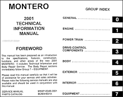 2001 mitsubishi montero body manual original this manual covers all 2001 mitsubishi montero models except sport including xls and limited this book measures 8 5 x 11 and is 0 94 thick