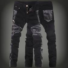 greatestcloth 2018 mens skinny jeans overalls motorcycle jeans men pu leather pants patchwork denim biker jeans leather joggers size 28 36 greatestcloth