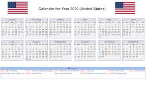 Printable Calendars 2020 With Holidays Us 2020 Calendar Yearly 12 Month Printable Calendar 2020
