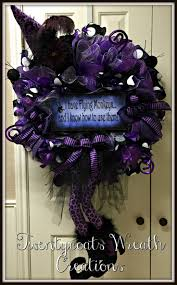 Halloween Purple leopard witch deco mesh wreath by Twentycoats Wreath  Creations