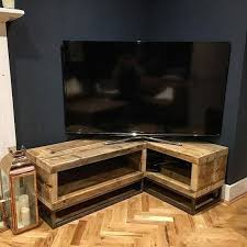 tv corner unit. industrial chic reclaimed corner tv unit standm media 064