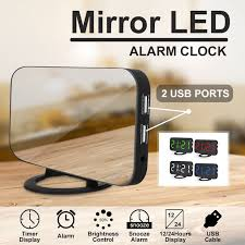 mirror led alarm clock charger with dual usb port cable electronic clock for desktop wall multi