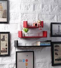 red black mdf u shape floating wall shelves set of 3 by driftingwood contemporary wall shelves wall shelves decor pepperfry