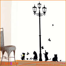 new arrival cat wall sticker lamp and erflies stickers decor decals for walls vinyl removable decal wall murals bedroom wall stickers bedroom wall