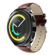 crocodile texture genuine leather watch replacement strap for samsung galaxy gear sport brown 1