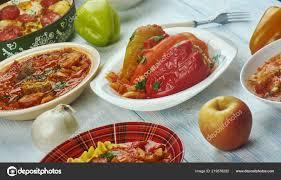 Ungarische Küche Verschiedene Traditionelle Gerichte Ansicht Von Oben U2014  Stockfoto
