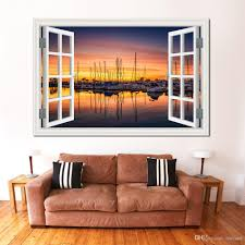 Seaside Decorating Accessories 100d Wall Sticker Window View Seaside Sunset Landscape Removable 86