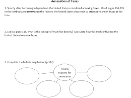 Annexation of Texas Worksheet - Amped Up Learning