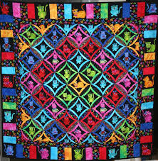 Cool Cat Cathedral Window Quilt | Snips and Bits from Shelley's Studio & Cool Cat Quilt by Lori Lusk W Adamdwight.com