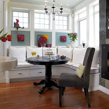 Designs Ideas:Large Stunning Banquette Breakfast Nook With Hidden Storage  Also Brown Chairs Beautiful White