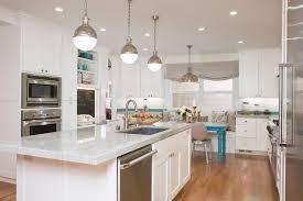 quartz kitchen countertops white cabinets. Glossy Lamps In Contemporary Kitchen Among White Island Also Grey Quartz Countertop With Cabinets Idea 7 Countertops E