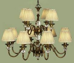 polina antique brass 12 light chandelier with beige shades interiors 1900