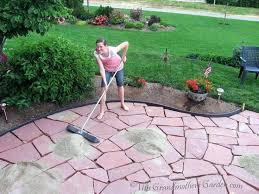 how to lay flagstone patio this grandmothers garden filling in the gaps part 3 of our flagstone patio laying flagstone patio on concrete