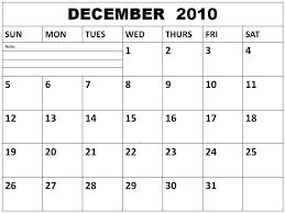2010 Calendar January Free Blank December 2010 Calendar