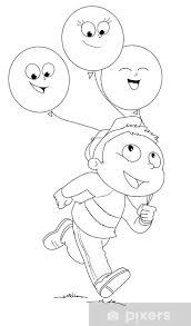 Fototapete Illustrazione Da Colorare Di Bambino Che Corre Con