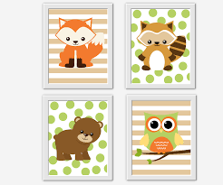 >woodland baby nursery wall art fox raccoon bear owl zoo animals  woodland baby nursery wall art fox raccoon bear owl zoo animals forest animals woodland creatures baby