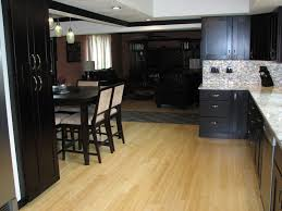 kitchen tile flooring dark cabinets. Kitchen Exotic Black Colours With Dark Cabinets Applied On The Wooden Floor It Also Has Tile Flooring