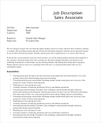 Customer Service Job Description Retail Sample Sales Associate Job Description 9 Examples In Pdf