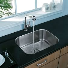 modern sinks kitchen ideas with single rounded rectangular stainless steel undermount sink bowl combined with