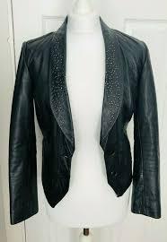 details about zara studded black leather jacket size s 6 8 10 hi lo bolero cropped blazer