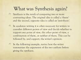 synthesis essay presentation 9 what was synthesis