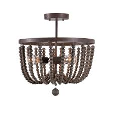 kenroy home dumas 3 light golden bronze wood bead semi flushmount