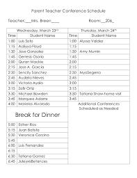 Parent Teacher Conference Schedule 1