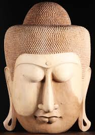 sold wooden large buddha face wall hanging 40