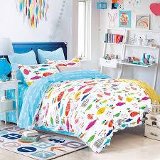 aqua purple and orange bright colorful fish print sea life reversible 100 cotton twin full queen size bedding sets for kids
