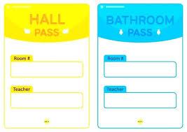 School Hall Pass Template Student Bathroom Passes Sarahjanerhee Com