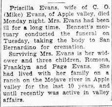Death notice of Priscilla Page Evans - Newspapers.com
