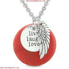 guardian angel wing live laugh love inspirational medallion magic amulet red quartz necklace layzghkk