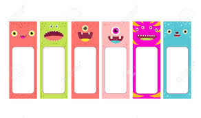 Memo Card Template Set Of Memo Pads With Cute Cartoon Monsters Faces Labels For