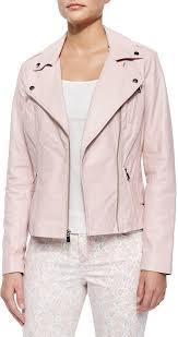 pink leather biker jackets neiman marcus motorcycle zip front leather jacket