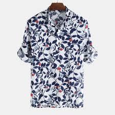Shirt Design Flower Men Floral Printed Half Sleeve Half Open Hawaiian Shirts