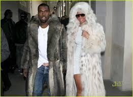 kanye west amber rose fur coat couple