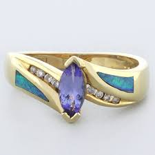 genuine tanzanite with australian opal ring in 14k solid gold