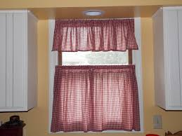 tier kitchen curtains in red for captivating kitchen decoration ideas