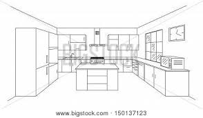 interior design sketches kitchen. Sketch Modern Kitchen Plan With Island. Single Point Perspective Line Drawing. Project Interior Design Sketches S