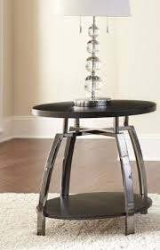contemporary round end table black silver