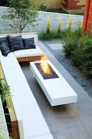 patio furniture for small balconies. Furniture : Modern Patio Design With L Shaped White Sofa Feat Square Black Cushions Near Fire Pit Outdoor Decorations, Small Balcony And For Balconies