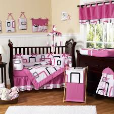 image of girl baby nursery room decoration using pink leopard unique baby girl crib bedding set including pink and red ruffle baby bed valance and pink